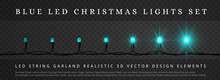 Blue LED Christmas String Lights With Different Phase Of Light. Decoration Elements For Holidays Design. Block Structure, Easy Editing. Instruction At Bottom Of Pic.. Easy To Animate