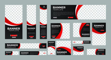 Set Of Abstract Web Banners Of Standard Size With A Place For Photos. Business Ad Banner. Vertical, Horizontal And Square Template. Vector Illustration EPS 10