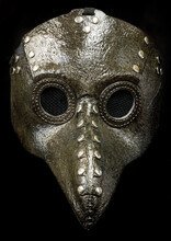 Plague Doctor Mask Isolated Against Black Background