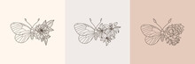 Set Of Floral Butterfly Icon I...