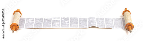 A Torah Scroll Rolled Out and Isolated on a White Background