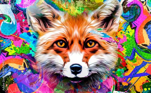 Fototapeta premium Fox's head illustration on background with colorful creative elements