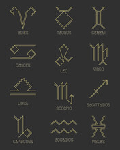 Zodiac Signs Concept, Astrology, Horoscope. Vector Set Of Abstract Geometric Pictograms, Linear Yellow Icons, On A Dark Gray Background.