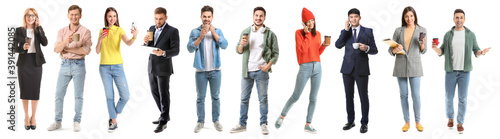 Different people with cups of coffee on white background Fotobehang
