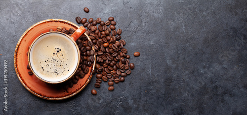 Espresso coffee and roasted beans Canvas