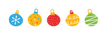Colorful Christmas Balls Set, Collection. Cartoon Style Vector Icons.