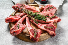 Rack Of Lamb , Raw Meat With B...