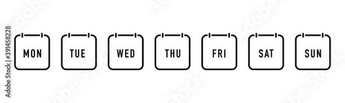 Obraz Week calendar flat icon. Vector - fototapety do salonu