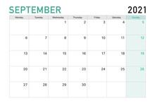 2021 September Illustration Vector Desk Calendar Weeks Start On Monday In Light Green And White Theme