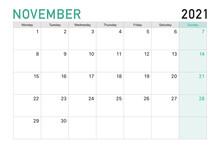 2021 November Illustration Vector Desk Calendar Weeks Start On Monday In Light Green And White Theme