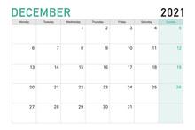 2021 December Illustration Vector Desk Calendar Weeks Start On Monday In Light Green And White Theme