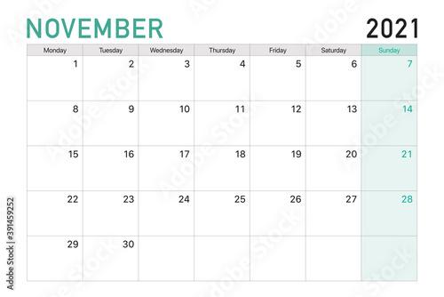 Obraz 2021 November illustration vector desk calendar weeks start on Monday in light green and white theme - fototapety do salonu