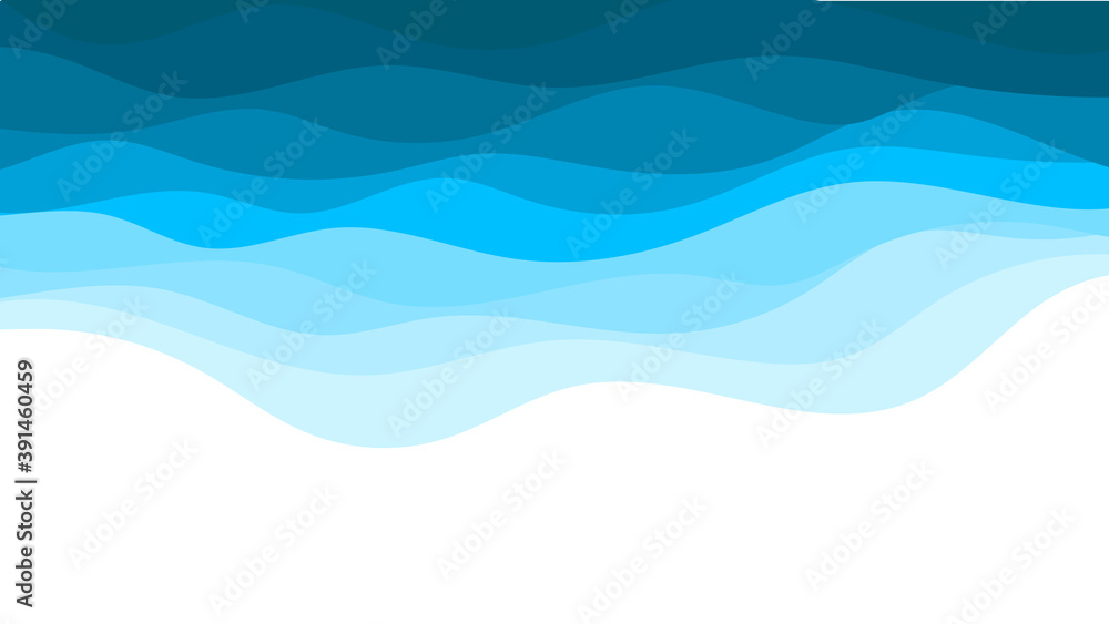 Fototapeta Blue ocean wave water background vector illustration and copy space for text.