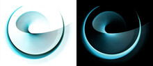 Turquoise Rotating Spiral And Open Circle On Top. Set Of Icons Or Logos On Black And White Backgrounds. Graphic Design Element. 3d Rendering. 3d Illustration.