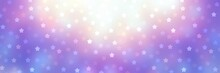 Christmas Stars Shimmering On Blue Lilac Shiny Background. Festive Banner. Winter Holidays Fantasy Decor. Bokeh Pattern.