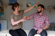 Alternative Therapist And Man During A Consultation, Using EFT Tapping Techniques Therapy