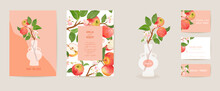 Wedding Invitation Apple Vector Card. Vintage Botanical Save The Date Set. Design Template Of Fruits, Flowers