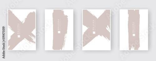 Fotografie, Obraz Beige ink brush stroke set on white background. Japanese style.