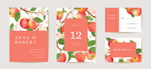Wedding Apple Invitation Card, Vintage Autumn Save The Date Set. Design Template Of Fruits, Flowers And Leaves