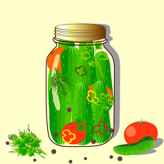 glass jar with tomatoes and cucumbers