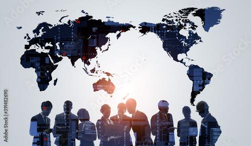 グローバルビジネスイメージ 握手するビジネスパーソン パートナーシップ 世界地図