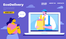 Young Woman Receiving Parcel With Food From Delivery Service Courier Through Laptop. Application Concept For Online Shopping And Order Delivery. Internet Delivery Concept. Flat Vector Illustration