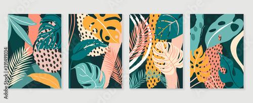 Botanical wall art vector set. Abstract wall art vector collection. Abstract organic shape Art design for poster, print, cover, wallpaper, Minimal and natural wall art. Vector illustration.