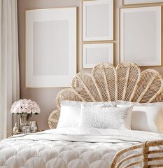 Panel Szklany Boks Mockup poster in luxury feminine bedroom, 3d render