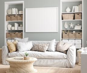 Fototapeta Tenis Mockup poster frame in cozy home interior background, 3d render