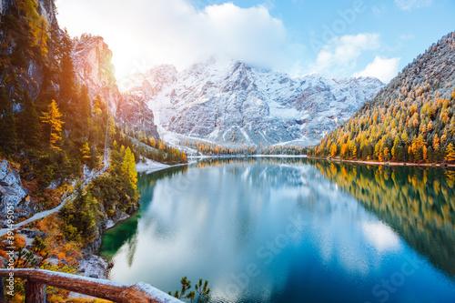 Perfect scenery of famous alpine lake Braies (Pragser Wildsee). Location Dolomiti Alps, Italy, Europe.