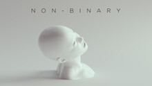 Non-Binary Female Male White Bust Head Back And Shoulders Side View 3d Illustration