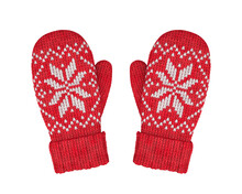 Red Wool Mittens With Isolated...
