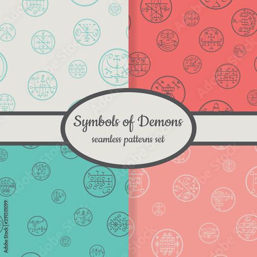 Collection of seamless patterns with symbols of demons designed for web, fabric, Billede på lærred