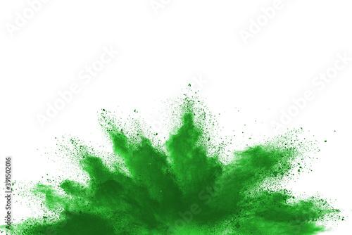 Obraz na plátně Abstract green powder on white background. holi festival.