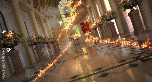 Fotomural Interior of a cathedral, duomo, church on fire, 3d rendering, 3d illustration
