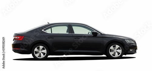 Car on white background, side view