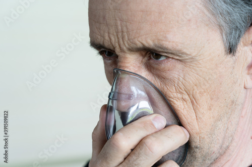 Medical oxygen mask on a man Canvas