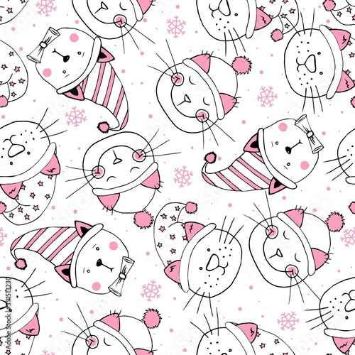 Seamless head funny kittens with hat. Christmas pattern. Element design for fabric, wrapping paper and children's accessories.