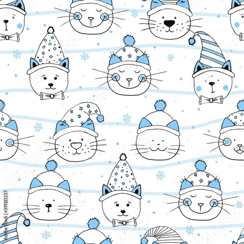 Seamless head nice kittens with hats. Pattern for Merry Christmas. Element design for fabric, wrapping paper and children's accessories.