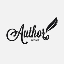 Author Logo With Feather And Ink On White