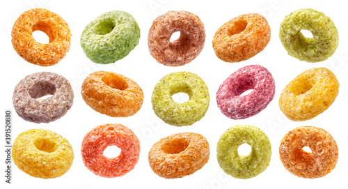 Colorful corn rings isolated on white background