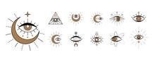Evil Seeing Eye Symbol Set. Occult Mystic Emblem, Graphic Design Tattoo. Esoteric Sign Alchemy, Celestial Bodies, Providence Sight, Vector Eye Boho Design. Outline Eyes Symbols With Moon, Stars