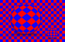 Red And Blue Spheres On Red An...