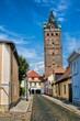 canvas print picture - delitzsch, deutschland - altstadtgasse mit breiter turm