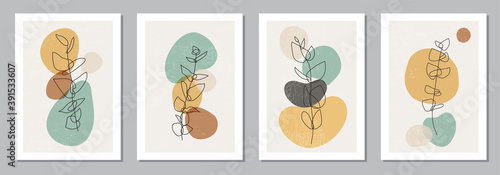 Set of minimalist posters with botanical branch and leaves abstract collage Tapéta, Fotótapéta