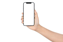 Mock Up Screen Smartphone On Women Hand, Close Up Phone Front Display With Blank Screen, Mobile Phone Isolated On White Background, Woman Hand Holding Black Smartphone With Copy Space,.Concept Social.