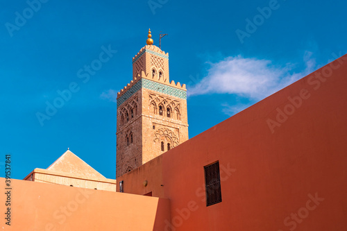 Tela Koutoubia mosque minaret with blue sky  and the orange walls