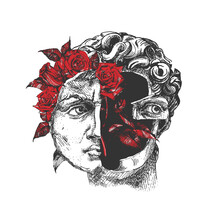 Engraved Statue David With Red Rose
