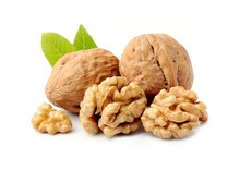 Walnut Kernel With Leaves