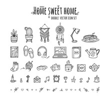 Sweet Cozy Home House Set Of Elements In Doodle Hand Drawing Style. Vector Icons In Scandinavian Hugge Style, Warm And Cute
